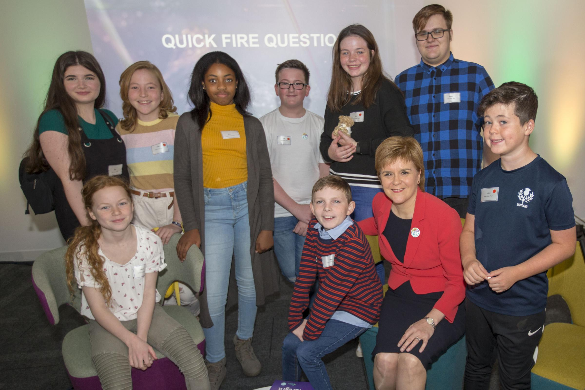 Nicola Sturgeon meets young people at the First Minister's Question Time Next Generation event in 2018