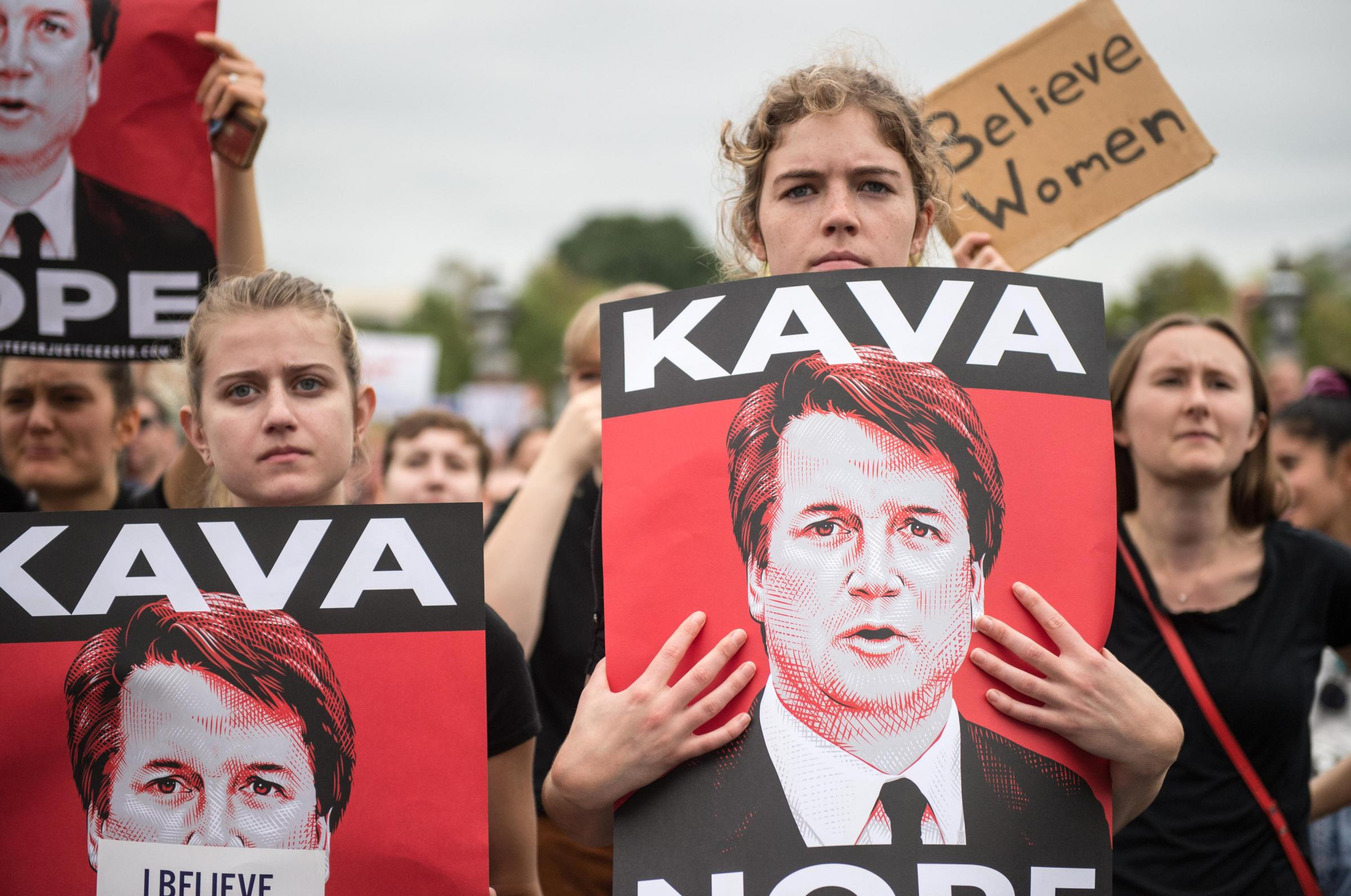 Women demonstrators protest against the appointment of Supreme Court nominee Brett Kavanaugh at the US Capitol in Washington DC, on October 6, 2018