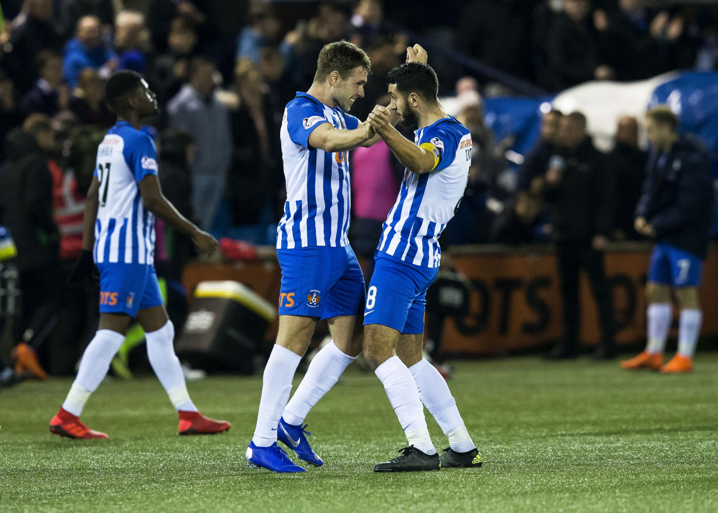 01/12/18 LADBROKES PREMIERSHIP.KILMARNOCK V HIBERNIAN (3-0).RUGBY PARK - KILMARNOCK.Kilmarnock's Greg Stewart and Alan Dicker celebrate at Full Time.