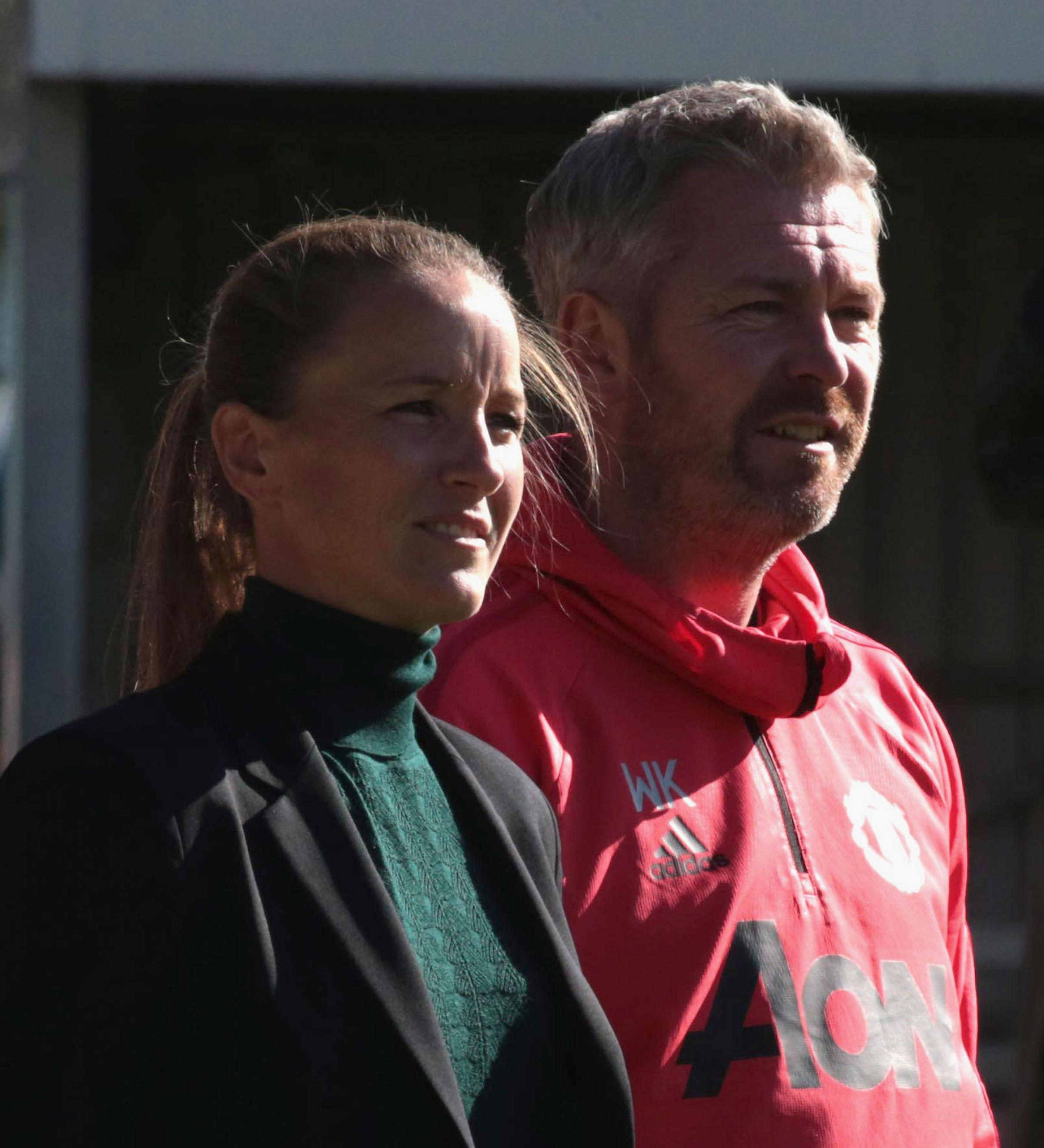 Willie Kirk with Casey Stoney before he made the surprise move from Manchester United to Everton