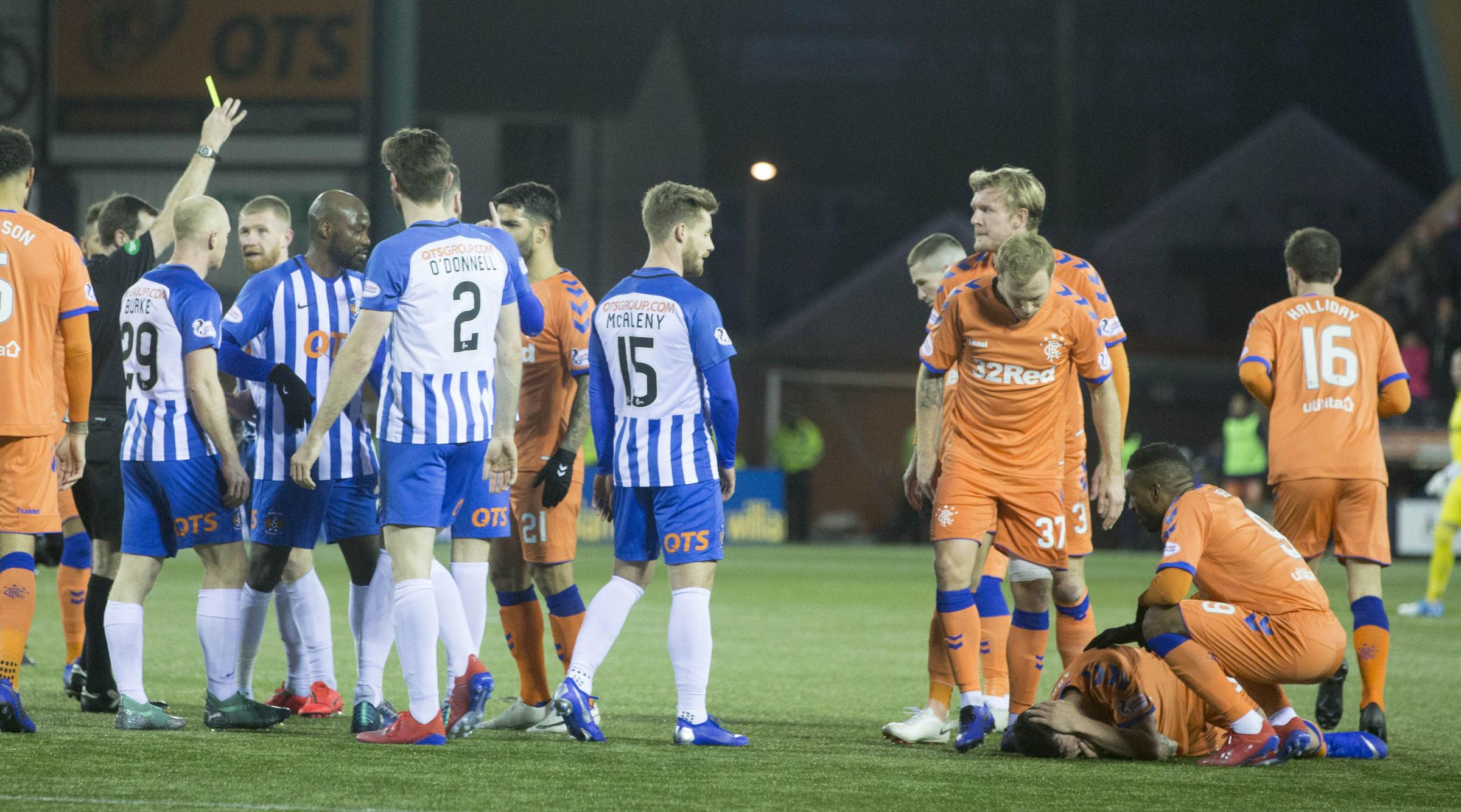 Kilmarnock'��s Alan Power clashes with Rangers' Ryan Jack in first half gets booked during the William Hill Scottish Cup, fifth round match at Rugby Park, Kilmarnock. PRESS ASSOCIATION Photo. Picture date: Saturday February 9, 2019.